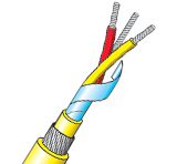 Twisted & Armoured PVC Insulated Single Pair Thermocouple Cable