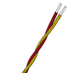 Twisted Pair Fibreglass Insulated Thermocouple Cable