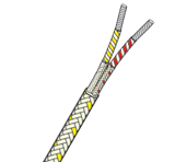 Flat Twin With Overbraid Fibreglass Insulated Thermocouple Cable
