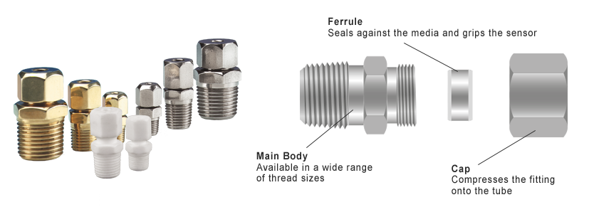 Compression Fittings Available in Stainless Steel, Brass or PTFE